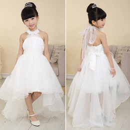 Wholesale 2015 New Fashion baby Girls Mesh Halter High Waist Asymmetrical Hem Ball Gown Tutu wedding Flower Girl Dress Party Dresses SV027016
