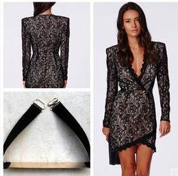 Wholesale Black M L XL sexy underwear long sleeves dress female Short Mini Length dress Black lace cashew lace skirt Party Dresses
