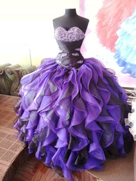 Wholesale Purple Crystals Sweet Girls Ball Gown Quinceanera Dresses New Real Images Bling Beaded Corset Ruched Organza Prom Dress for year