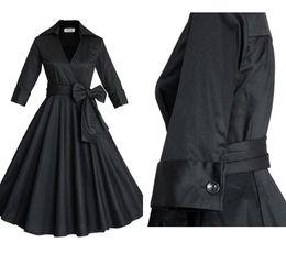 Wholesale Audrey Hepburn Vintage Style Casual Dresses European Fall Winter Long Sleeves Big Ruffles Women Plus Size Clothing