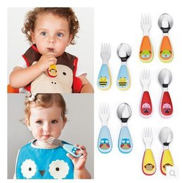 Wholesale New Fashion Baby Tableware Lovely Stainless Steel Fork Spoon Suit Baby Feeding Gift Popular