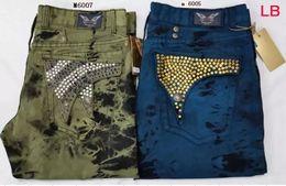 Wholesale Robin Jeans Men EMBELLISHED JEANS Straight Denim Green Blue Slim Embroided Designer Men Pants Size