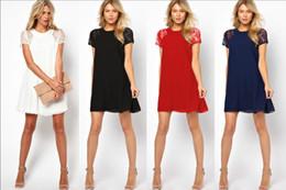 Wholesale 2015 Summer spring women clothing lace short sleeve white back chiffon Underskirt sexy lace dress Plus size XXL Women s Dress