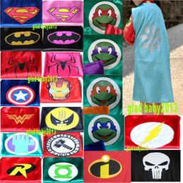 Wholesale 2layer batman kids superhero cape children boy costume for children halloween party costumes children captain costume tmnt capes and cloaks