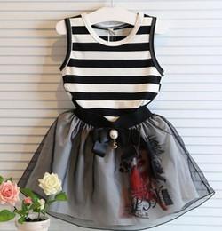 Wholesale Girls Sets Summer Korean Kids Clothes Children clothing Striped Sleeveless T shirts Shorts Skirts Kid Bow Tulle Printed Skirt Black I3399
