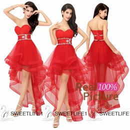 Wholesale Hi Lo Evening Dresses Red Tulle Sweetheart Prom Dresses Beads Homecoming Party Aribic Evening Gowns Dresses Vestidos de Fiesta In Stock