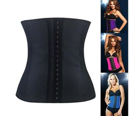 Wholesale XS XL Colors Women Latex Rubber Waist Training Cincher Underbust Corset Body Shaper Shapewear DHL free
