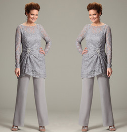 Wholesale ursula of switzerland Two Piece Mother of the Bride Pant Suits with Illusion Scoop Neck Lace Long Sleeve Chiffon Plus Size Groom Dress