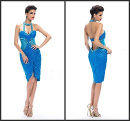 Wholesale In fashion New Arrival Halter Backless cocktail dresses and beading sequins short mini party dresses Sexy