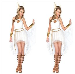 Wholesale Halloween Costume For Women Fairy Greek Goddess Costumes Halloween Party Cosplay Dress Fancy Angle Wings Women s For Sexy Lady