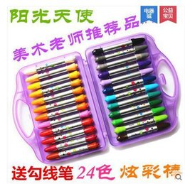 Wholesale Shipping sunshine angel colorful new color pen rod rocket oil painting stick water soluble rotary pastel crayon