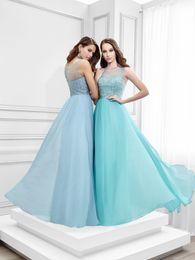Wholesale 2016 Elegant Light Sky Blue Prom Party Dresses Sheer Jewel Neck Beaded Sequined Aqua Long Chiffon Evening Dresses