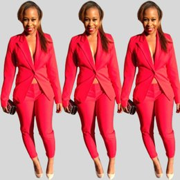 Wholesale 2016 OL style women hot red piece suit slim blazer and pants suit Office Lady Suits Business Outfits Casual Girls Suits For Work