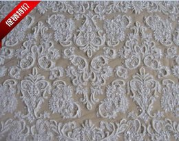 Wholesale 1 Meter Elegant D Wedding Beaded Embroidery Lace fabric cm Width