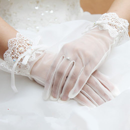 Wholesale 2015 Fashion Tulle Bridal gloves With Bow Beige Gloves For Wedding Bridal Accessories Wrist Length Beautiful Sheer gloves
