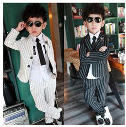 Wholesale 2015 Autumn New Children Clothes Piece Sets Boy Korean Casual Sets Boy Stripe Suit Clothing Jacket Pants British Lunfan Set F13ADF