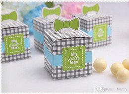 Wholesale 100Pcs My Little Man Birthday Favor Boxes Candy Box Baby Shower Party Decoration Favors And Gifts Chocolate
