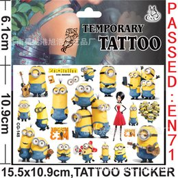Wholesale Cartoon Minions Christmas Waterproof Tattoo stickers BOYS TEMPORARY TATTOOS CHILDREN KIDS TOY XMAS GIFT CHRISTMAS STOCKING FILLER