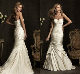 Wholesale 2015 New Arrival Wedding Dresses Sheath Ruched Pleats Lace up Sweetheart Beads Off the Shoulder Bridal Gowns Custom Dress