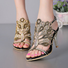 Wholesale Stiletto Heel Sandals Strappy Summer Sandals Black Rhinestone Heels Sandals Wedding Bride Shoes Red Silver Prom Party Open Toe