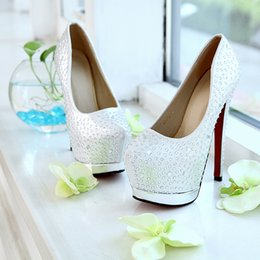 Wholesale 2014 Luxury Crystal Wedding Shoes cm High Heels Waterproof Silver Party Prom Bridesmaids Shoes EM03337