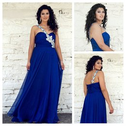 Wholesale Wow Sexy Plus Size Royal Blue Prom Dresses One Shoulder Beads Puffy Floor Length Backless Oscar Celebrity Evening Dresses Formal Gowns