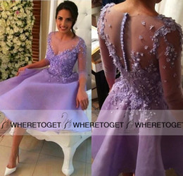 Wholesale Purple Lilac Cheap Long Sleeves Knee Length Sheer Cocktail Dresses Lace Applique Formal Short Party Dresses Homecoming Prom Gowns