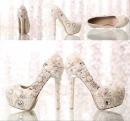 Wholesale 2015 Fashion Luxurious Pearls Crystals Wedding Shoes Custom Made Size cm High Heel Bridal Shoes Party Prom Women Shoes