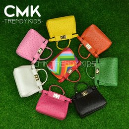 Wholesale CMK KB118 Rainbow Peekaboo Orstrich PU Leather Kids Bags Candy Colors Childrens Bags Girls Fashion Bags Single Shoulder Bags With Medals