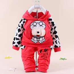 Wholesale Spotted dog baby children s clothing boy girls sport suits color Black blue red yellow Baby Clothing Set