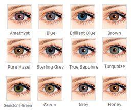 Soft colorido lentes de contato cosméticos para os olhos 12 cores em estoque de uso anual contatos olho cor Freeshipping