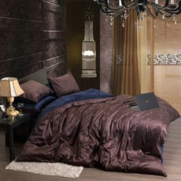 Discount blue velvet duvet cover Wholesale-Flannel Fleece Winter Thick Duvet  cover sets Coffee Queen