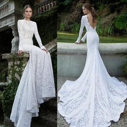 Wholesale long sleeves wedding dresses full lace mermaid wedding gowns bateau neckline deep v backless chapel train bridal gowns