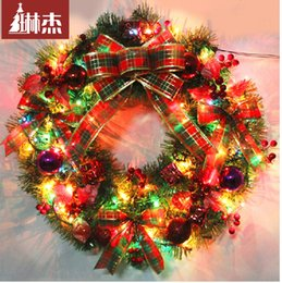 Wholesale Beatiful Merry Christmas cm Colorful Big Size Christmas Doors With Velocitron Ornaments Decoration Flowers Wreath Garland
