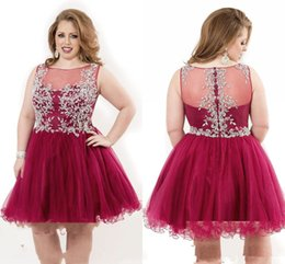 Wholesale Custom Made Sexy Retro Short Jewel Party Dress With Sequin Beaded Hollow Beading And Knee Length Organza Prom Dress Plus Sized