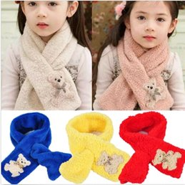 Wholesale Toddler Infant Girl Scarves Bear Soft Coral fleece Winter Scarf Colors Kids Neck Scarf DH04