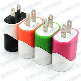 Wholesale Universal Portable Dual Colors US Plug USB Wall Charger Travel Home Power Adapater Charging For iPhone S S Samsung S5 S4 S3 Note3