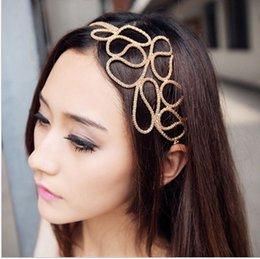 1000шт Бесплатная доставка DHL Женщины выдалбливают Плетеный Золото глава группы Stretch аксессуары для волос Сплетница На складе