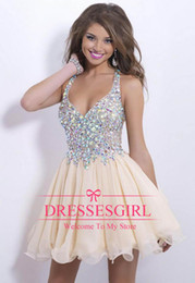 Wholesale 2015 Best selling new arrival sexy halter cocktail party dresses sparkly sequins beaded crystals backless short prom homecoming gowns cps168