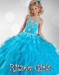 Wholesale 2014 Cheap Blue Pageant Dresses For Girls Floor Length Little Girls Pageant Dresses Ball Gown Flower Girl Dresses Pageant Cupcake Dresses