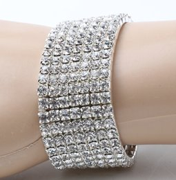 Wholesale MIC Clear Spring Elastic Silver Plated Row Row Row Row Row Row Rows Crystal Rhinestone Bracelets Tennis