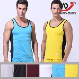 Wholesale New Sexy Men s Casual Sports Running Underwear Sleeveless Tank Top T Shirts GYM Run Jogging Tops S M L Colors YF3177