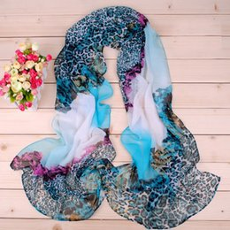 Discount women scarves dhl shipping New Leopard pattern chiffon long silk scarves 50*160cm DHL free shipping X075 wholesale Sales Paisley scarf