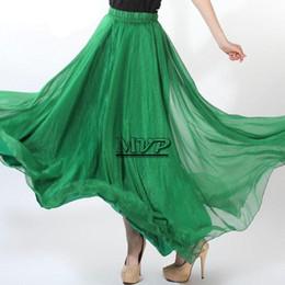 Wholesale New Women Summer Sexy Skirts New Retro Lady Full Circle Boho Gauze Chiffon Skirt Pleated Long Maxi Skirt b7 SV002728