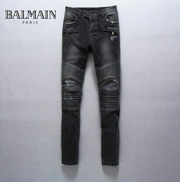 Wholesale Mens Balmain Destroyed Denim Biker Jeans