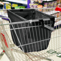 Wholesale Supermarket trolley shopping bags oxford kg bearable reusable mall purchasing bag large folding tote bag black