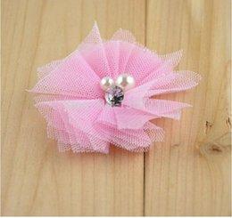 Wholesale 150pcs venta por mayor libre envío colores Mini gasa de malla de tul flores de diamantes de imitación perla centro plano accesorio pelo