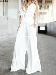 Wholesale 1510 CHOIES Summer Style Women Jumpsuit Halter Plunge Neck Ruched Bust Backless Palazzo Floor length Pants Playsuit
