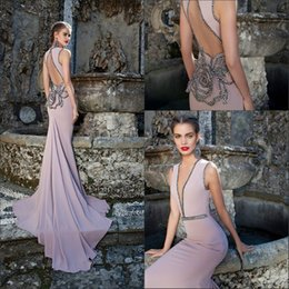 Wholesale 2015 Tarik Ediz Dresses Vintage Evening Gowns Plunging V Neck Sexy Backless Chiffon Beaded Flower Purple Mermaid Prom Party Formal Wear