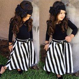 Wholesale 4pcs Toddler Baby Girls Outfits Headband T shirt stripe skirts belt Kids Clothes Set hot selling